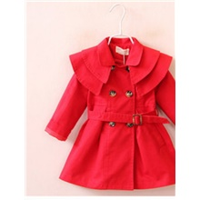 Kids Girls' Basic Solid Colored Trench Coat Red Red,12-18 Months(90cm)