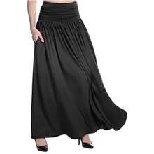 Women's Maxi Swing Skirts - Solid Colored Black Dark Gray S M L Black,S