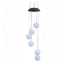 Solar Light Outdoor Powered LED Wind Chime Color Change Spiral Wind Chime Outdoor Light Decorative Garden Light RGB