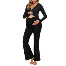 Women's Deep V Suits Pajamas Solid Colored Black,S