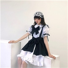 Princess Lolita Ōji Lolita (Boystyle) Maid Uniforms Cosplay Costume Maid Suits Costume Unisex Japanese Cosplay Costumes White Black & White Butterfly Sleeve Short Sleeve Knee Length / Dress / Apron White,S