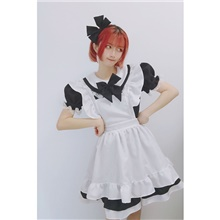 Sweet Lolita Princess Lolita Maid Uniforms Maid Suits Male Japanese Cosplay Costumes Black / Pink / Blue Solid Colored Black & White Puff / Balloon Sleeve Long Sleeve Short Sleeve Knee Length / Dress Black,M