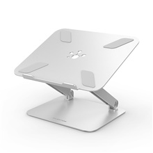 LENTION Stand-L5 Laptop Stand Holder Aluminum Alloy Portable Adjustable Angle Adjustable Height Fan Silver