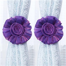 2Pcs Household Curtain Straps Sweet Flower Design Decorative Curtain Tiebacks Curtain Holder Violet