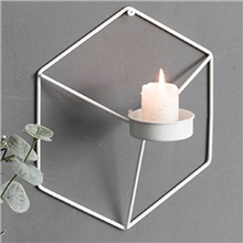 Nordic simple wrought iron geometric candle holder wall decoration decoration creative home 21x18x12.5cm White