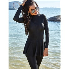 Women's One-piece Rash Guard Swimwear Swimsuit - Solid Colored Breathable S M L Black Black,S