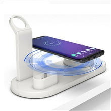 10W Qi Wireless Charger Dock Station 4 in 1 For Iphone Airpods Micro USB Type C Stand Fast Charging 3.0 For Apple Watch Charger White
