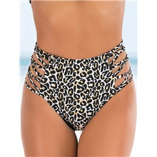 Women's Cheeky Bikini Bottoms Swimwear Swimsuit - Leopard S M L Brown Brown,S