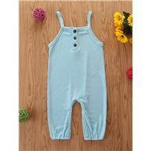 Baby Girls' Basic Solid Colored Overall & Jumpsuit Blue Blue,9-12 Months(80cm)