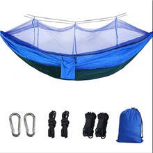 Double Parachute Cloth Hammock With Mosquito Net Camouflage Army Green Anti-mosquito Ness Spinning Anti-rollover Swing Can Be Customized Blue