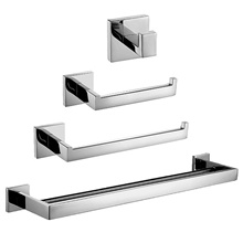 4-Piece Bathroom Hardware Accessory Set Towel Bar Toilet Paper Holder Hand Towel Bar and Double Robe Hook Brushed Nickel Wall Mount SUS 304 Stainless Steel Silvery,punchable