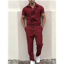 Men's Ordinary Wine Black Blue Jumpsuit Onesie, Solid Colored Lace up US36 / UK36 / EU44 US38 / UK38 / EU46 US42 / UK42 / EU50 Wine,US36 / UK36 / EU44