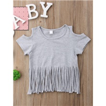 Baby Girls' Active Basic Solid Colored Short Sleeve Tee Gray Gray,9-12 Months(80cm)
