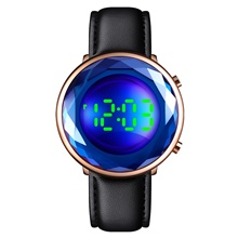SKMEI Ladies Digital Watch Casual Fashion Black Gold Rose Gold Stainless Steel PU Leather Chinese Digital Black Blue Purple Water Resistant / Waterproof Calendar / date / day LED Light 30 m 1 pc Black