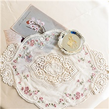 1 Piece 30*45cm French Style Lace Placemat Home Decor Table Cloth Floral Decorative Place Mat Mug Coaster Beige,1 pc,30cm * 45cm (12' * 18')