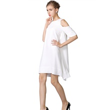 Women's Loose Dress - Half Sleeve Solid Color Loose White Black Red XS S M L XL XXL XXXL XXXXL White,XS