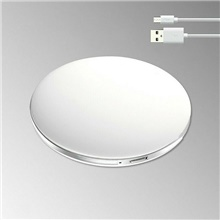 Luminous Mini Portable LED Makeup Mirror With Light Makeup Girl with Round Small Mirror USB,White,Round