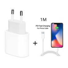 18W USB Type C Quick Charger Adapter For iPhone 11 pro Xs Max X Xr 8 Plus 8 7 6 5 PD Fast Charging Power Type-C EU Plug for Apple Cable EU Plug