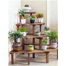 Solid Wood Corner Flower Stand Multi-layer Ladder Floor Type Succulent Green Plant Balcony Restaurant Outdoor Wooden Flower Pot Rack Package