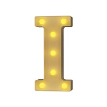 Plastic Letter LED Night Light Marquee Sign Alphabet Lights Lamp Home Club Outdoor Indoor Party Wedding Home Decoration Warm White,I