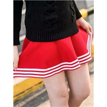 Kids Toddler Girls' Red Striped Solid Colored Skirt Red Red,4-5 Years(120cm)