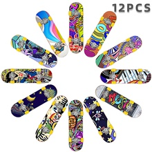 12/25 pcs Finger skateboards Mini fingerboards Finger Toys Plastic Office Desk Toys Cool with Replacement Wheels and Tools Skate Kid's Teen Party Favors  for Kid's Gifts 12 pcs