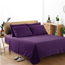 Bedding Set Sheet Set Fitted Sheet Size 4 PCS White Gray Flat Sheet Brushed Microfiber Silky Bedding Collection Sheet and Pillowcases Single Full Queen King Cal-King Single / Twin Size,Violet