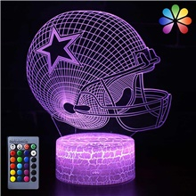 3D Illusion Night Light Desk Lamp 16 Colors Auto Gradual Changing USB Powered LED Lights with Touch Switch for Kids Gifts Home Decoration (3D Ball Cap Light) Remote control 7-Color,<5V,USB,1,Football