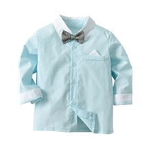 Baby Boys' Basic Street chic Solid Colored Long Sleeve Blouse Light Green / Toddler Light Green,3-4 Years(110cm)