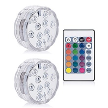 2Pcs 10 Led Remote Controlled RGB Submersible Light Battery Operated Underwater Night Lamp Fish Tank Wwimming Pool Vase Christmas Wedding Party Garden Decoration RGB,1#