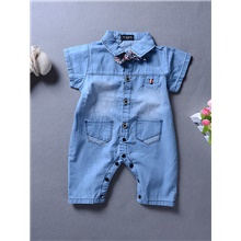 Baby Boys' Active Basic Solid Colored Short Sleeves Romper Blue Blue,9-12 Months(80cm)