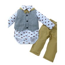 Baby Boys' Casual Basic Solid Colored Bow Long Sleeve Regular Regular Clothing Set White White,9-12 Months(80cm)