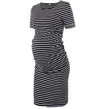 Women's T Shirt Dress Knee Length Dress - Short Sleeves Striped Summer Casual 2020 Black Blushing Pink Light gray Gray S M L XL Black,S