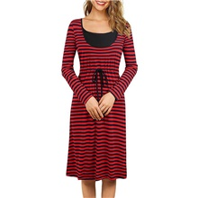 Women's A-Line Dress Knee Length Dress - Long Sleeve Striped Summer Casual 2020 Red Blushing Pink S M L XL XXL Red,S