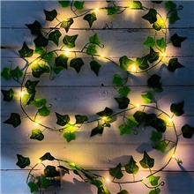 2M 20 LEDs Artificial Fake Creeper Green Leaf Ivy Vine LED String Lights Battery Operated Fairy Lights Wedding Birthday Garden Party Family Party Room Decoration Without Battery Delivery
