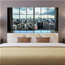 Manhattan City New York Living Room Tv Background Wall Stickers Bedroom Bedside Art Decoration Art Ornament Wallpaper Sticker 1 set 2pcs Rainbow