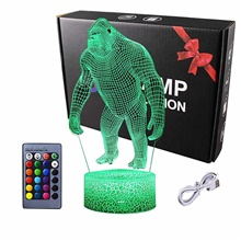 Night Lights for Kids 3D Orangutan LED Night Lamp 16 Colors Changing Touch Switch USB Power Or Battery Powered Baby Adult Christmas Gift Bar Living Room Bedroom Decor 16 Colors-Changing,<5V,USB,1,Orangutan