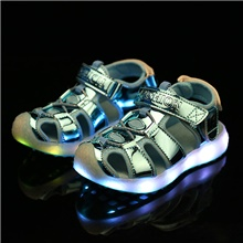 Boys' / Girls' LED Shoes / Luminous Shoe / USB Charging PU Sandals LED Shoes Little Kids(4-7ys) / Big Kids(7years +) Walking Shoes LED Pink / Gold / Blue Spring / Summer / Rubber Blue,US9.5 / EU26 / UK8.5 Toddle