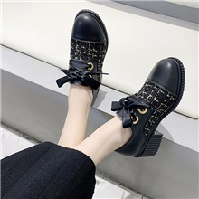 Women's Oxfords Spring & Summer Chunky Heel Round Toe Daily PU Black / Beige Black,US5.5 / EU36 / UK3.5 / CN35