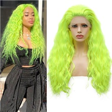 Synthetic Lace Front Wig Wavy Free Part Lace Front Wig Long fluorescent green Synthetic Hair 18-26 inch Women's Cosplay Soft Adjustable Green