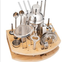 Cocktail Shaker Mixer and Wood Base Set Of 27 Cocktail Tools Stainless Steel 550ml/750ml 750ml ( US $2.26) ,As per Picture