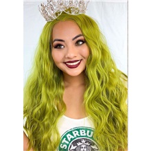 Synthetic Lace Front Wig Curly Side Part Lace Front Wig Long Green Synthetic Hair 18-26 inch Women's Cosplay Soft Party Green