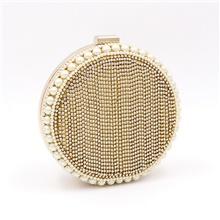 Women's Pearls / Crystals Polyester Evening Bag Wedding Bags Gold / Silver Gold