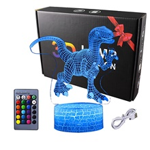 Dinosaur 3D Illusion Lamp for Boy Dinosaur Lamp 16 Colors with Remote Control Smart Touch Night Light Best Christmas Birthday Gift for Boy Girl Kids Age 5 4 3 1 6 2 7 8 9 10 11 Years Old 16 Colors-Changing,<5V,USB,1