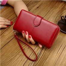 Women's Zipper PU Leather Clutch Wedding Bags Solid Color Wine / Black / Blue Wine