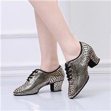 Women's Dance Shoes Modern Shoes Heel Thick Heel Gold / Performance / Practice 2' (5cm) Gold Plated Transparent Heel,Gold,US5 / EU35 / UK3 / CN34
