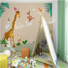 Custom Self-adhesive Mural Wallpaper Giraffe Children Cartoon Style Suitable For Bedroom Children's Room School Party Room Wallcovering 28' x 55' (70cm x 140cm) ( US $11.21) ,Self adhesive ( US $5.09)
