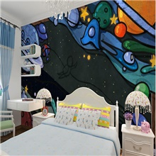 Custom Self-adhesive Mural Wallpaper Universe Children Cartoon Style Suitable For Bedroom Children's Room School Party Art Deco 28' x 55' (70cm x 140cm) ( US $11.21) ,Self adhesive ( US $5.09)