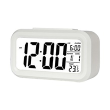 Digital alarm clock LCD data display snooze function electronic backlight sensor night light office table student and kids watch White