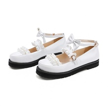 Women's Lolita Shoes Spring Fall Platform Round Toe Casual Preppy Daily Office & Career Bowknot Lace Solid Colored PU White / Black / Pink White,US3.5 / EU33 / UK1.5 / CN32